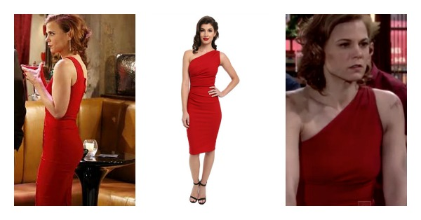 The Young And The Restless Style Get Phyllis Newman 39 S Red One Shoulder Dress For Less Gina