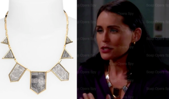 The Bold and the Beautiful Fashion: Get Quinn Fuller's Engraved Frontal Necklace For Less – Rena Sofer's Style!